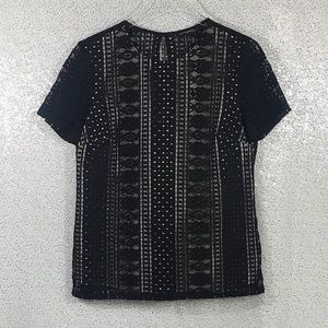 Banana Republic Lace Tee Black Size Small